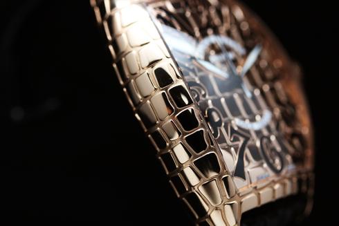 フランクミュラー トノーカーベックス ゴールドクロコ PG金無垢 クロコレザー ブラック/ピンクゴールド メンズ 8880 SC GOLD CRO