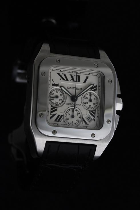 【Cartier(カルティエ) サントス100 クロノグラフ】老舗の質屋が高額査定