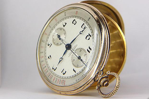 ジラール・ペルゴ ポケットウォッチ ワンプッシュクロノグラフ 懐中時計