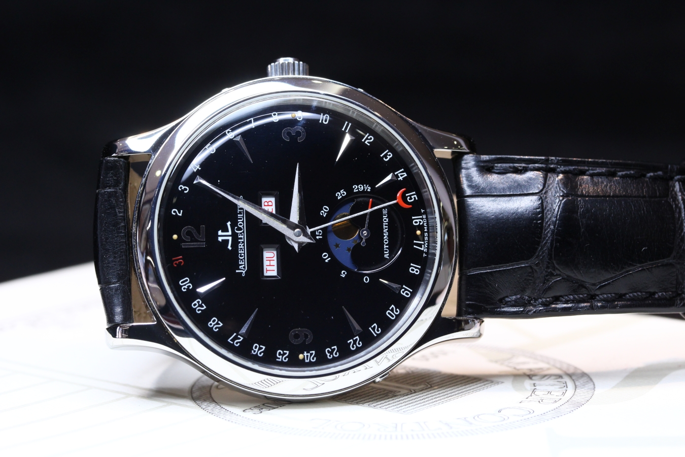 Jaeger-LeCoultre Master Moon Stainless Steel 37mm Black Dial 140.8.98.S
