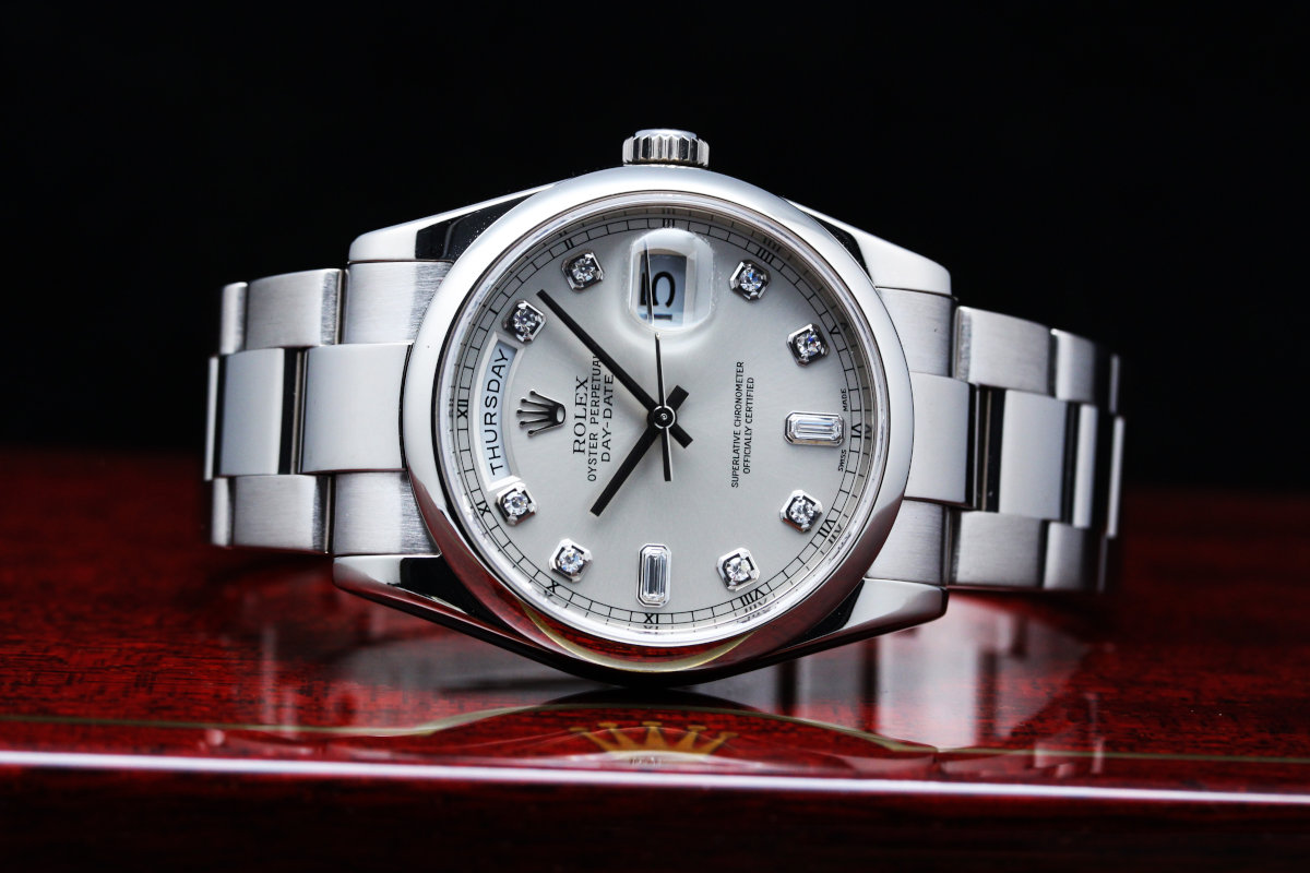 Rolex DayDate President Silver Diamond Dial 118209A