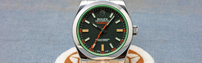 Rolex Green Crystal Milgauss Steel Automatic Oyster Bracelet Watch 116400GV (5)