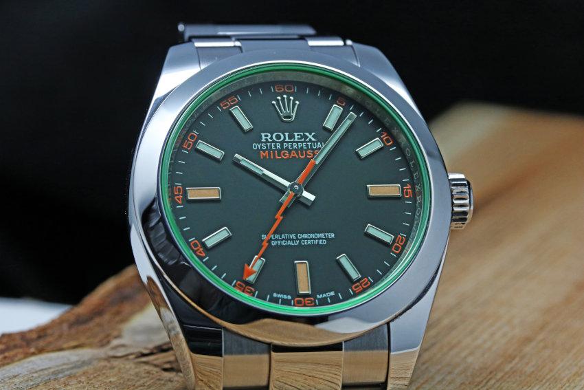 Rolex Green Crystal Milgauss Steel Automatic Oyster Bracelet Watch 116400GV (9)