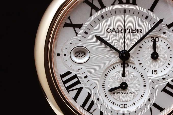 Cartier W6920008 Ballon Bleu Gold Automatic Chronograph Silver Dial Watch