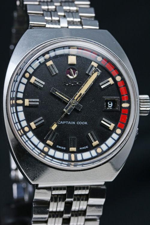 1970年代 ラドー キャプテンクック 赤白インナー回転ベセル オートマチック 11773/2