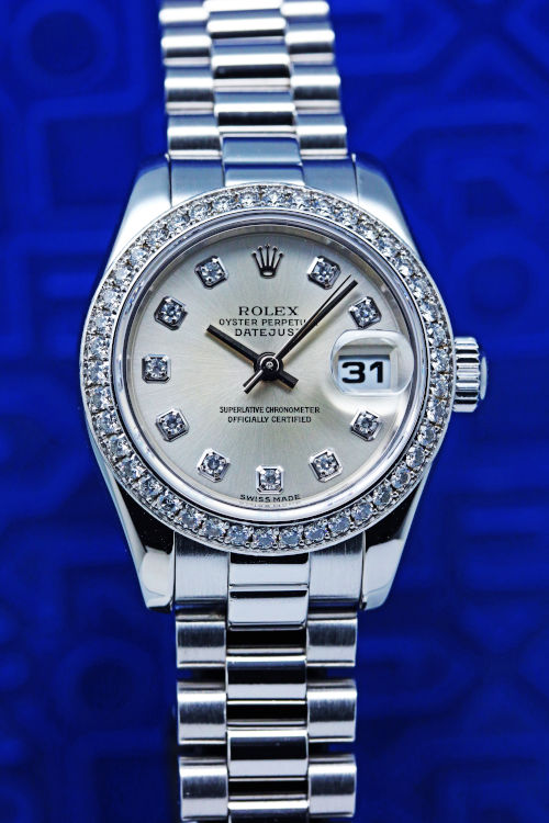 ロレックス レディース デイトジャスト プラチナ ダイヤモンド 179136G