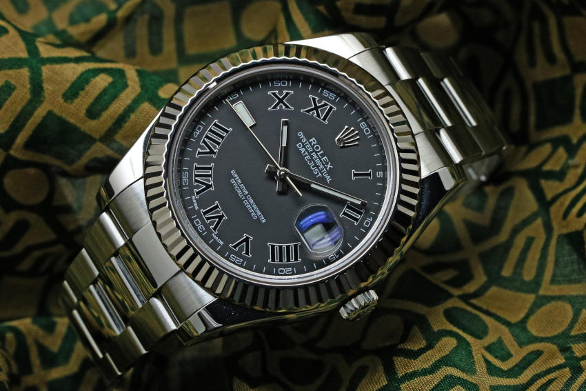 Rolex Datejust II White Gold Bezel Slate Roman Dial 116334 41MM